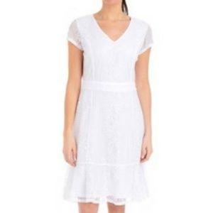 White Lace Ruffle Hem Dress